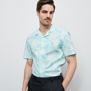 Turkusowa koszula Reserved z krótkim rękawem z bawełny