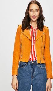 Pomarańczowa kurtka Vero Moda z zamszu