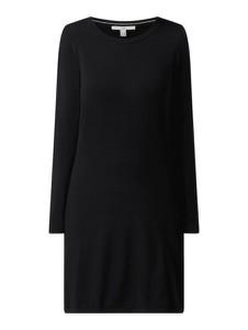 Czarna sukienka Esprit mini z długim rękawem z okrągłym dekoltem