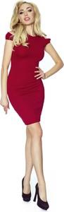 Czerwona sukienka Bergamo mini bez rękawów z okrągłym dekoltem
