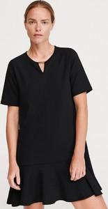 Czarna sukienka Reserved z krótkim rękawem w stylu casual trapezowa