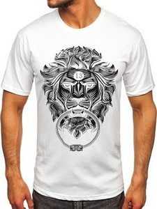 T-shirt Denley z bawełny z krótkim rękawem z nadrukiem