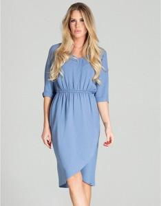 Niebieska sukienka Figl w stylu casual koszulowa