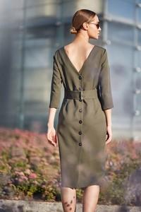 Sukienka Style z dekoltem w łódkę z tkaniny midi