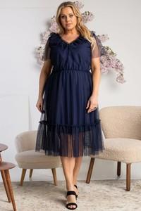 Niebieska sukienka KARKO dla puszystych midi