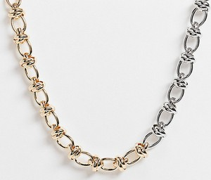 ASOS DESIGN Curve – Naszyjnik z łańcuszka z węzełkami w różnych kolorach i zapięciem w kształcie litery T-Wielokolorowy