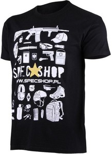 Czarny t-shirt Specshop.pl w młodzieżowym stylu z dżerseju