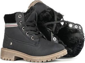 Czarne buty dziecięce zimowe Royalfashion.pl dla dziewczynek sznurowane