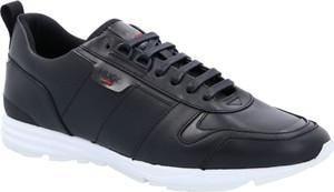 Czarne buty sportowe Hugo Boss sznurowane ze skóry