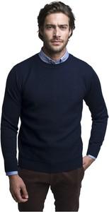Niebieski sweter Borgio w stylu casual z wełny z okrągłym dekoltem
