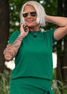 Zielona bluzka Dreskot z długim rękawem z okrągłym dekoltem