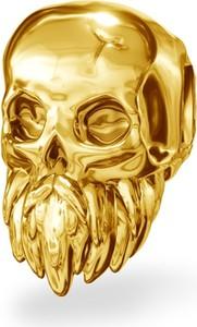 GIORRE Srebrny koralik zawieszka charms CZASZKA z brodą srebro 925 : Kolor pokrycia srebra - Pokrycie Żółtym 24K Złotem
