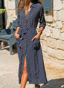 Granatowa sukienka Cikelly z długim rękawem koszulowa z dekoltem w kształcie litery v