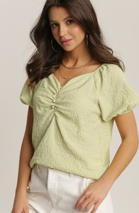 Zielona bluzka Renee z dekoltem w kształcie litery v w stylu casual