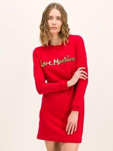 Sukienka Love Moschino z okrągłym dekoltem z długim rękawem