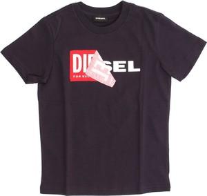 Niebieska koszulka dziecięca Diesel z bawełny