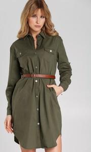 Zielona sukienka Renee mini z długim rękawem w stylu casual