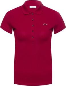 Czerwona bluzka Lacoste z kołnierzykiem w stylu casual z krótkim rękawem