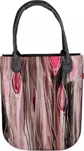 Różowa torebka Bertoni z nadrukiem na ramię z filcu