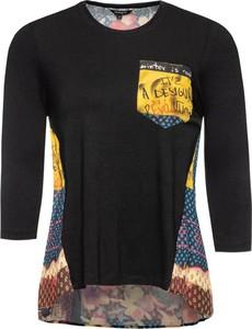 Czarna bluzka Desigual z okrągłym dekoltem z długim rękawem