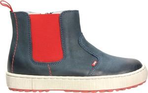 Niebieskie buty dziecięce zimowe EMEL ze skóry na zamek