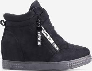 Granatowe buty sportowe Yourshoes ze skóry ekologicznej