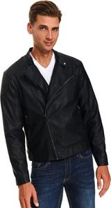 Czarna kurtka Top Secret w młodzieżowym stylu ze skóry ekologicznej