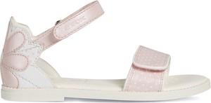Różowe buty dziecięce letnie Geox na rzepy ze skóry