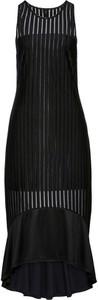 Czarna sukienka bonprix dopasowana z okrągłym dekoltem