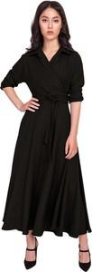 Czarna sukienka Lanti z dekoltem w kształcie litery v maxi