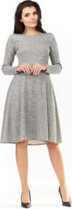 Sukienka Awama z długim rękawem z okrągłym dekoltem midi