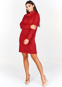 Sukienka Fokus z tkaniny z długim rękawem midi