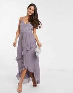 Fioletowa sukienka Little Mistress maxi asymetryczna