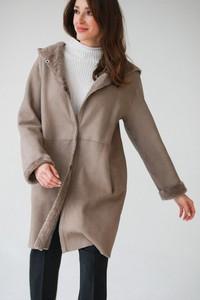 Brązowy płaszcz Furry Kalpazidis