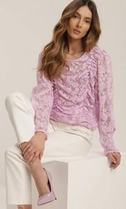 Różowa bluzka Renee z długim rękawem z okrągłym dekoltem