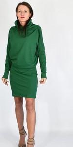 Zielona sukienka Collibri w stylu casual z długim rękawem z golfem
