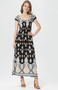 Czarna sukienka born2be w stylu casual z krótkim rękawem