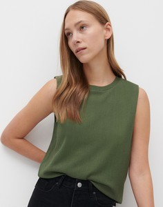 Zielony top Reserved z okrągłym dekoltem w stylu casual