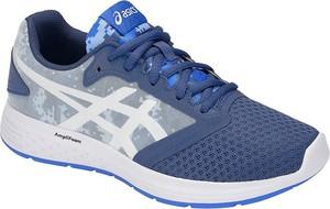 Granatowe buty sportowe ASICS z płaską podeszwą ze skóry sznurowane
