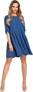 Sukienka Merg z okrągłym dekoltem z długim rękawem oversize