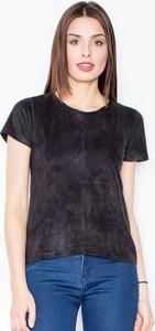 T-shirt Figl z zamszu z okrągłym dekoltem w stylu casual