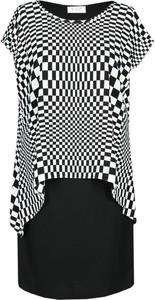 Czarna sukienka Fokus midi z krótkim rękawem