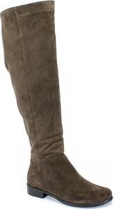 Kozaki Lewski w stylu casual z płaską podeszwą z weluru