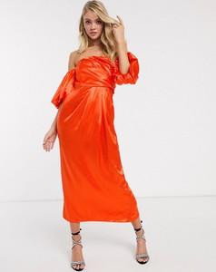 Pomarańczowa sukienka Asos Edition maxi z długim rękawem