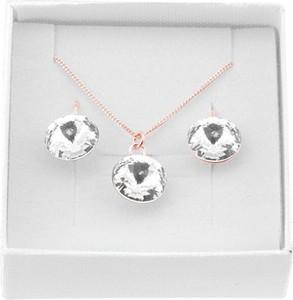 Lian Art Srebrny komplet biżuterii z kryształami Swarovski® - Rivoli - Rose Gold
