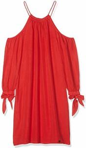 Czerwona sukienka amazon.de z długim rękawem w stylu casual