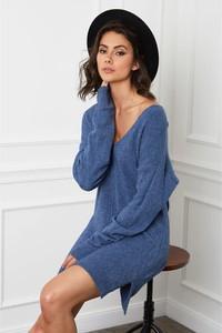Niebieska sukienka Joséfine w stylu casual mini z dekoltem w kształcie litery v