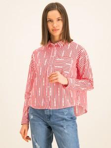 Różowa koszula Tommy Jeans z kołnierzykiem w stylu casual