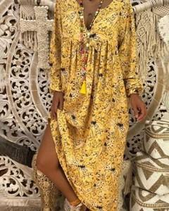 Żółta sukienka Kendallme z dekoltem w kształcie litery v maxi