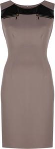 Brązowa sukienka Fokus bez rękawów midi w stylu casual